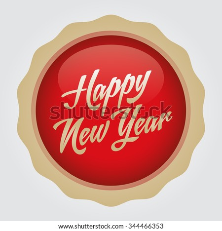 Happy new year text badge. Vector illustration. Red-Gold Badge - White background.