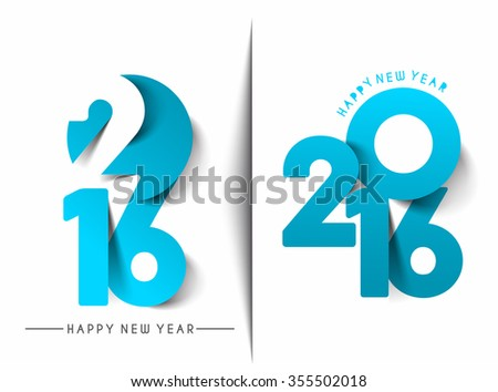 Happy New Year 2016 Text Decorated Design - stock vector