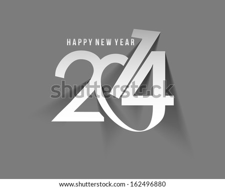 Happy New Year 2014 Text Design - stock vector