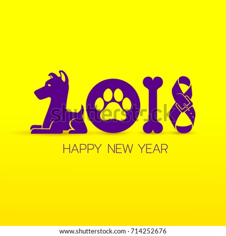 Happy New Year 2018 Text Design Stock Vector Royalty Free