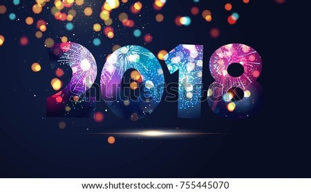 Happy new year 2018 text design. Greeting card design with numbers, lights and fireworks. Vector illustration