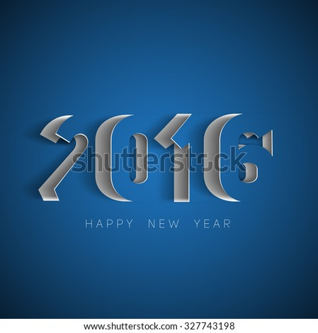 Happy new year 2016 Text Design, paper cut style modern simple vector, blue background - stock vector