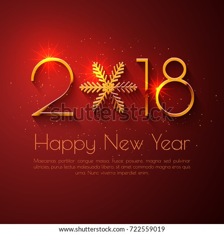 Happy new year 2018 text design stock vector 722559019 shutterstock happy new year 2018 text design vector greeting illustration with golden numbers and snowflake m4hsunfo