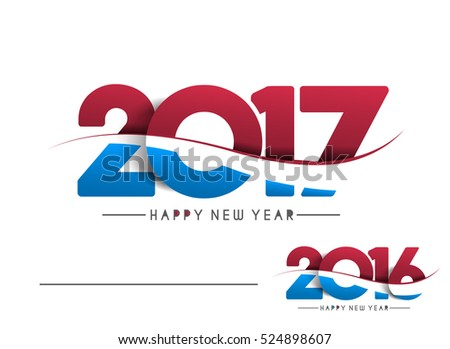Happy new year 2017 & 2016 Text Design vector illustration
