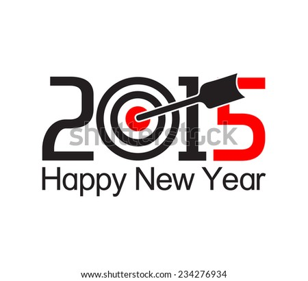Happy new year 2015 text design with arrow at the target  - stock vector