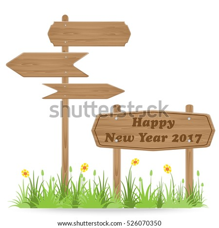 Happy New Year 2017 text on Wooden signpost with grass flower isolated on white. vector illustration