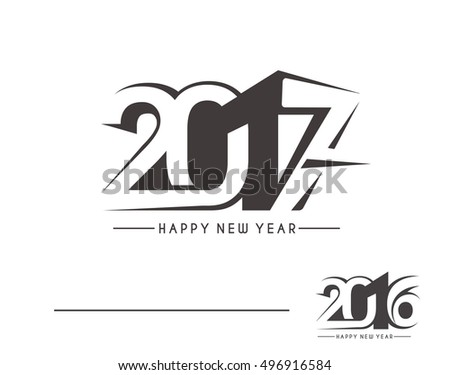 Happy new year 2017 & 2016 Text Vector Design Background