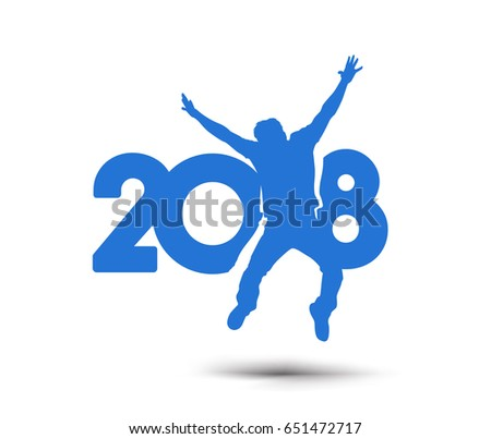 Happy new year 2018 Text with jumping men design Vector illustration