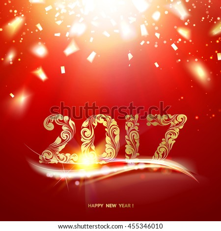 Happy new year 2017 - the template of invitation card. Golden confetti falls over red sky background. Vector illustration.