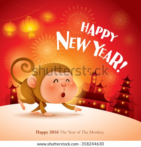 Happy New Year! The year of the monkey. Chinese New Year 2016.  - stock vector