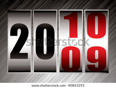 Happy new year this illustration marks the change between 2009 and 2010 - stock vector
