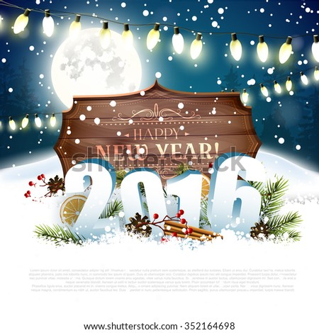 Happy New Year 2016 - traditional decorations, 3D numbers and wooden sign with calligraphic inscription at night - stock vector