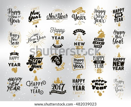 Happy New Year 2017 typographic emblems set. Vector logo, text design. Black, white and gold. Usable for banners, greeting cards, gifts etc.