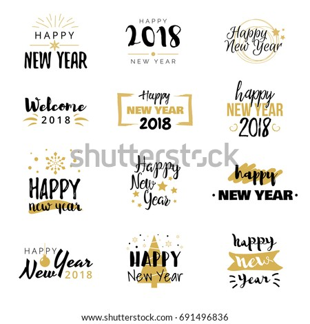 Happy New Year 2018 Typographical Design Stock Vector