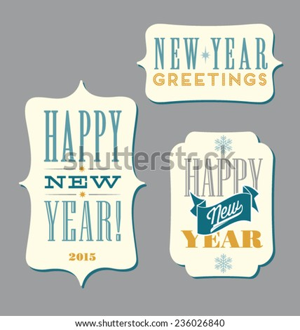 Happy New Year typography elements - stock vector