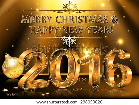 Happy New Year 2016 - vector Background. Elegant black vector background illustration with glowing, sparkling stars and Christmas Balls, for the Year 2016. Contains transparency. - stock vector