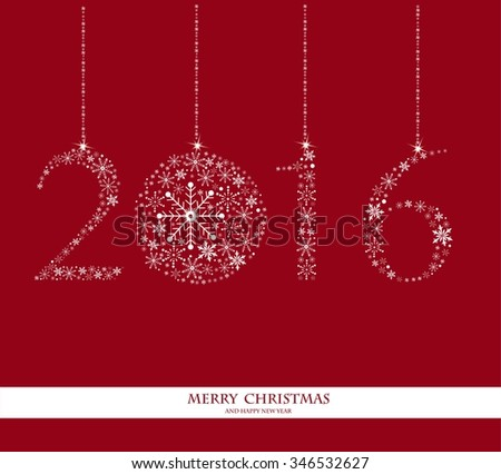 Happy New Year 2016 - vector Background. Elegant red vector background illustration with glowing, sparkling stars and Christmas Balls
