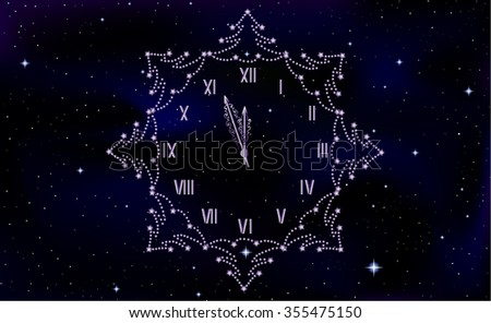 Happy New Year vector background with clock on starry space sky background - stock vector