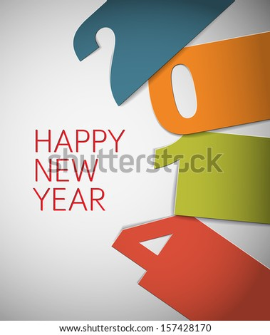 Happy New Year 2014 vector card with big numbers (blue, orange, green and red)