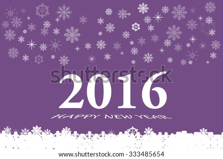 Happy new year vector card with the white numbers 2016 and bevelled inscription  Happy New Year on the trendy purple background. White botton is made up of fallen white snowflakes - stock vector