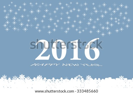 Happy new year vector card with the white numbers 2016 and bevelled inscription  Happy New Year on the trendy light blue gradient background. Larger quantities of stars are in the upper part. - stock vector
