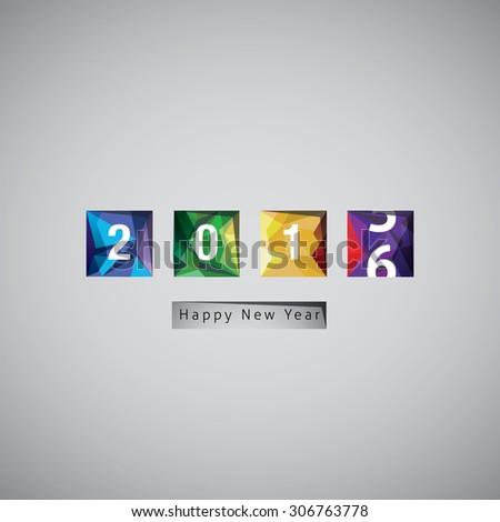 Happy New Year 2016 vector celebration background. - stock vector