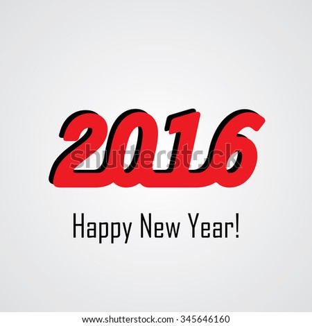 happy new year 2016  vector design icon in red with shadow.