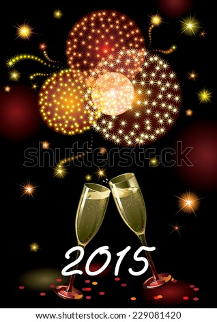 Happy new year 2015! Vector holiday background with two Champagne Flutes, many stars, fireworks on night dark sky and text 2015 - stock vector