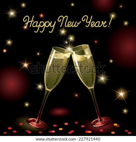 Happy new year! Vector holiday background with two Champagne Flutes, many stars, fireworks on night dark sky and text - stock vector