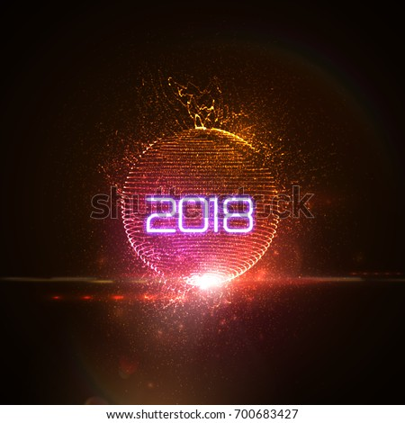 Happy New 2018 Year. Vector holiday illustration of glowing neon 2018 sign with shiny abstract distorted sphere and optical light effect with particles