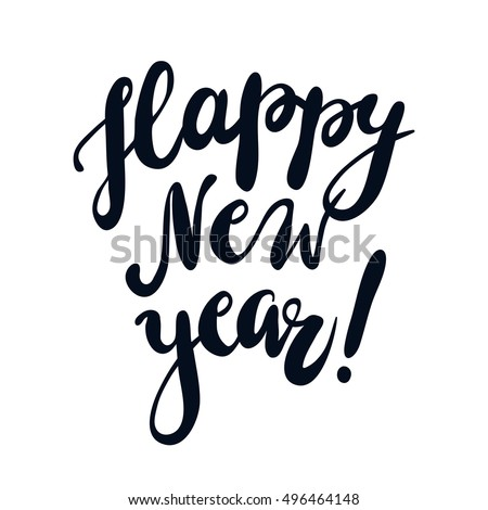 Happy New Year vector illustration. Isolated hand written lettering. Design element for greeting card.