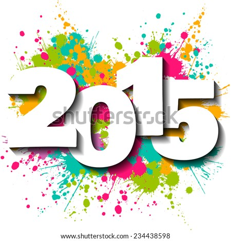 Happy new year 2015 vector illustration with slash background. - stock vector