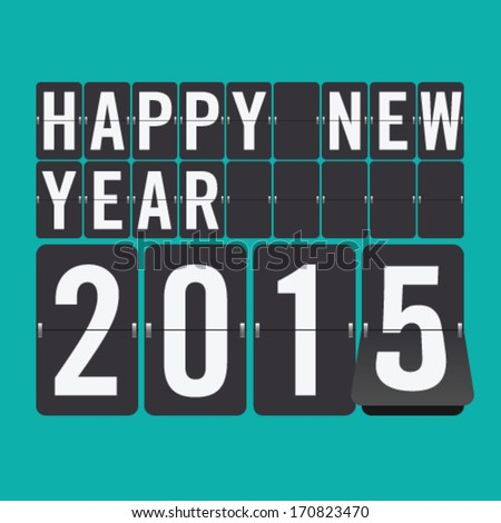Happy New Year 2015 vector mechanical flip clock design in the process of the flip - stock vector