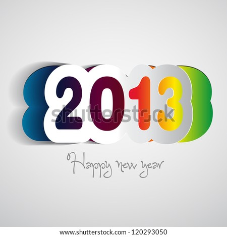 Happy New Year 2013 vector paper card - stock vector