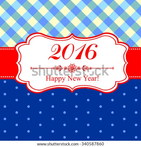 Happy new year 2016! Vintage card. Celebration background with Christmas tag and place for your text. Vector Illustration - stock vector