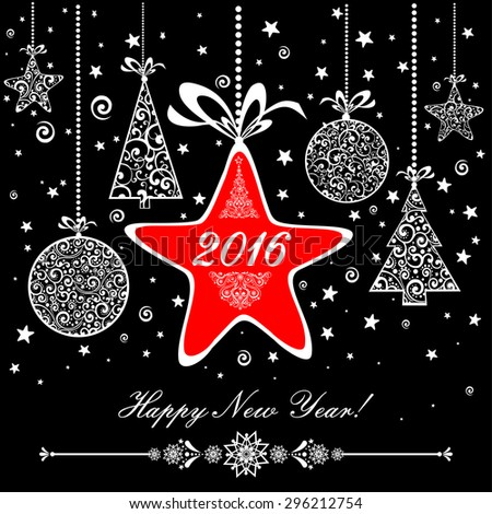 Happy new year 2016! Vintage card. Celebration background with Christmas tree, Christmas star, Christmas ball and place for your text. Vector Illustration - stock vector