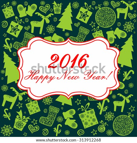 Happy new year 2016! Vintage card. Celebration green background with Christmas tree and place for your text. Vector Illustration - stock vector