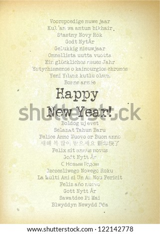 Happy New Year vintage typewriter styled greeting card on different languages - eps10 - stock vector