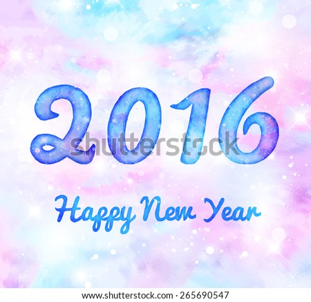 Happy New Year 2016 watercolor greeting card