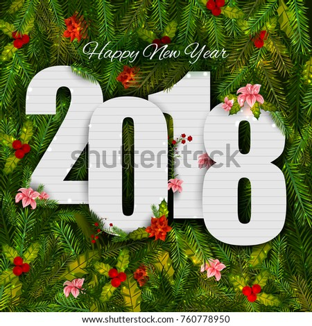 Happy New Year 2018 Wishes Greeting Stock Vector (Royalty Free ...
