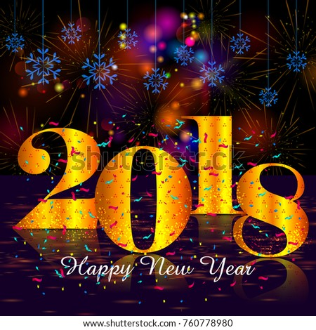 Happy new year 2018 wishes greeting stock vector 760778980 happy new year 2018 wishes greeting card template background design in vector m4hsunfo