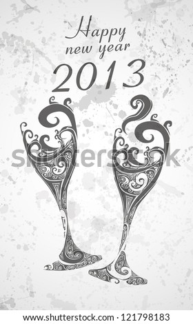 Happy New Year 2013 with abstract champagne glasses eps10