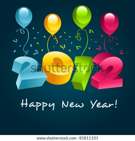 Happy New Year with Balloons - stock vector