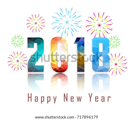 Good Happy New Year 2018 With Firework Background