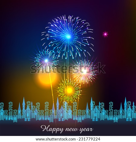 Happy New Year with fireworks background vector illustration - stock vector