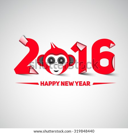 Happy new year, 2016, with monkey head - the year of monkey, letters in papercut style, moder design - stock vector