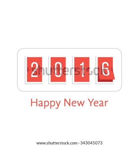 happy new year with 2016 scoreboard. concept of flipboard numerical, celebrate, 2016 year, 2016 calendar template. isolated on white background. flat style trend modern logo design vector illustration