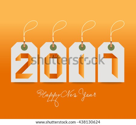 Happy new year with tags origami style. - stock vector
