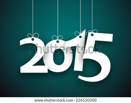 Happy 2015 new year word hanging on threads. Vector paper illustration.   - stock vector