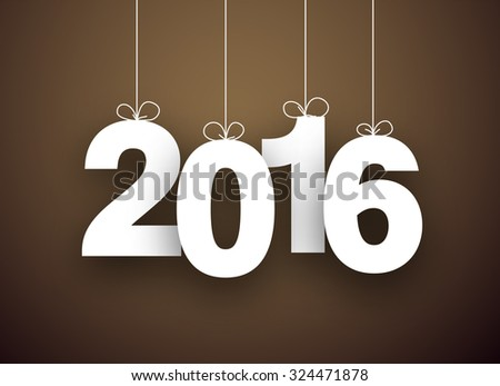 Happy 2016 new year word hanging on threads. Vector paper illustration.  - stock vector